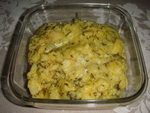 Potatoes in curd